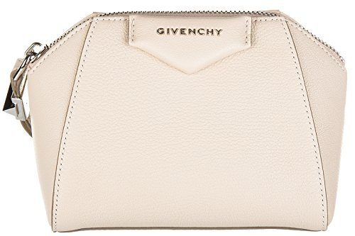 Givenchy women's leather clutch handbag bag purse antigona beige