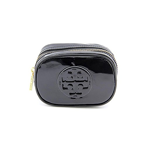 Tory Burch Patent Zip Cosmetic Case, Black