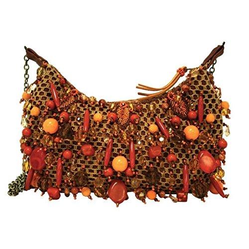 Mary Frances L'orange Artsy Mini Beaded Jeweled Jeweled Burnt Orange Handbag Shoulder Bag