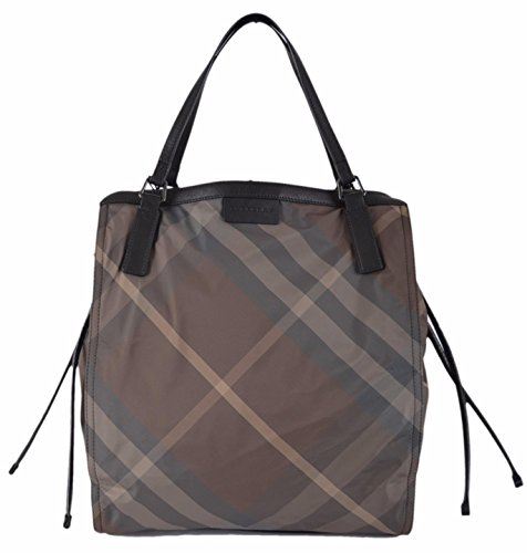 Burberry Women's Birch Brown Grey Nylon Nova Check Packable Tote Purse