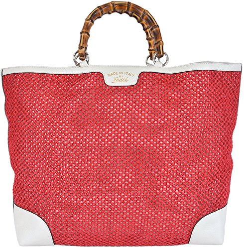 Gucci Women's Large Red Straw Leather Bamboo Handle Tote Handbag