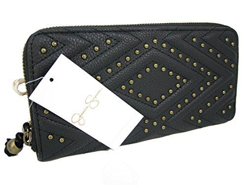New Jessica Simpson Logo Zip Around Wallet Purse Hand Bag Black Romy Clutch