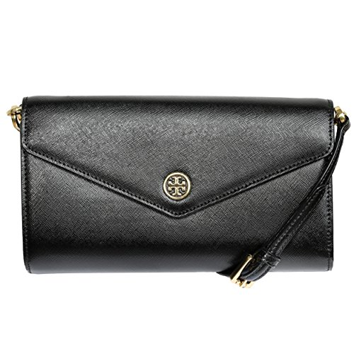 Tory Burch Robinson Leather Black Clutch Bag Crossbody