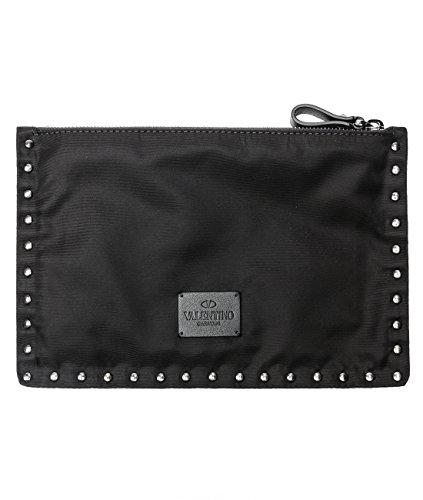 Wiberlux Valentino Women's Rockstud Detailed Zip-Top Clutch Bag