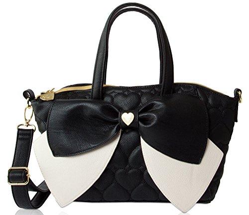 Betsey Johnson Bownanza Double Bow Detail Black Faux Leather Satchel Cross Body Shoulder Bag