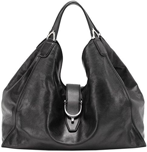 Gucci Black Soft Stirrup Washed Leather Shoulder Bag