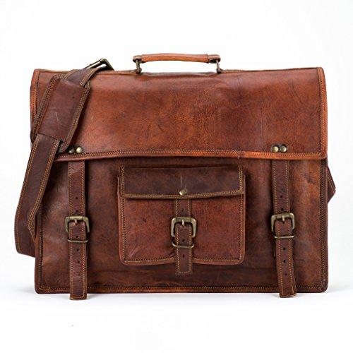 LUST Vintage Leather Laptop Messenger Bag 13″