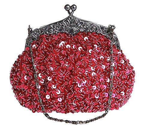 ILISHOP Women's Sequined Evening Clutch Party Wedding Handbag Purse (Winered)