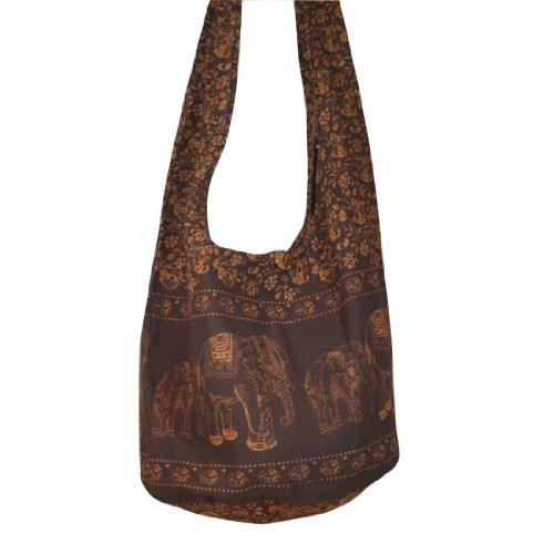 Thai Monk Buddha Cotton Elephant Sling Crossbody Messenger Bag Shlouder Purse Hippie Hobo Color Dark Brown Free Shipping