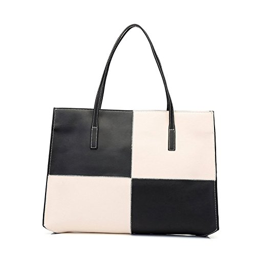 Fineplus® Women's Leather Leather Diamond Texture Tote Bag Black