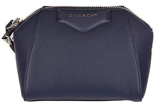 Givenchy women's leather clutch handbag bag purse antigona blu