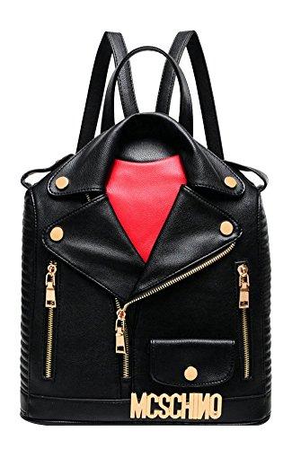 ilishop Women's Fashion Motorcycle Jacket Backpack Handbag (Black)