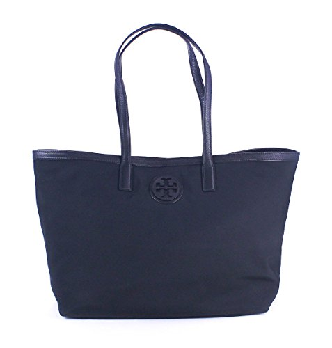 Tory Burch Tote Handbag Nylon Leather Trim TB Logo Tory Navy