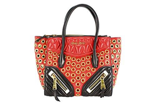 Miu Miu Womens Shoulder Bag Multi-Color Black Leather
