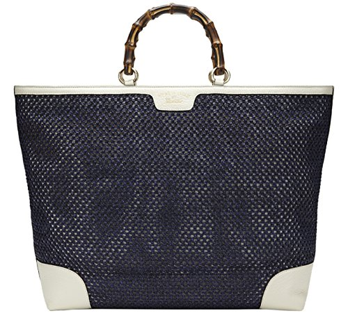 Gucci Blue Bamboo Shopper Hand Woven Straw Tote Large Shoulder Bag