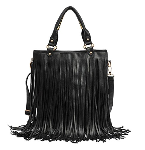 ILISHOP Hot Sale Women's Fashion Punk Tassel Fringe Tote Handbag Shoulder Cross Body Bag (Black)