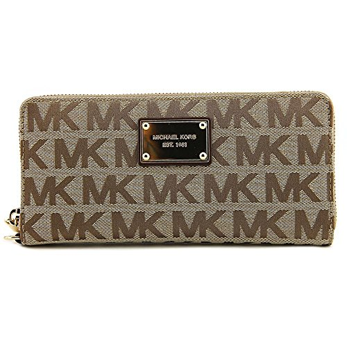 Michael Kors Beige Black Gold Continental Wallet