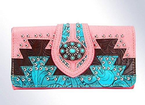 New Montana West Tri-fold Aztec Western Wristlet Wallet- Pink