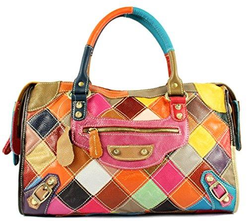 Hereby Kuer(TM) Women's Soft Leather Multi-color Tote Top-handle Cross-body Handbag Shoulder Bag Satchel Purse