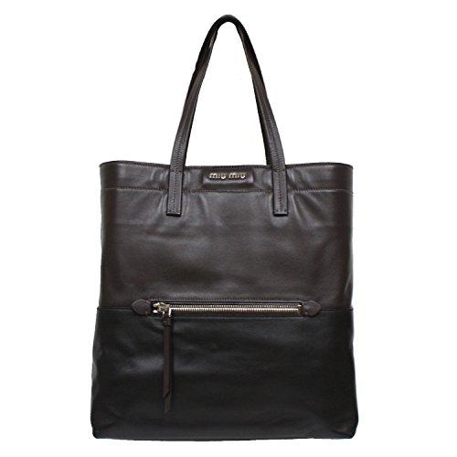 Miu Miu Prada RR1820 Vitello Soft Brown/Black Leather Shopping Tote Bag Large