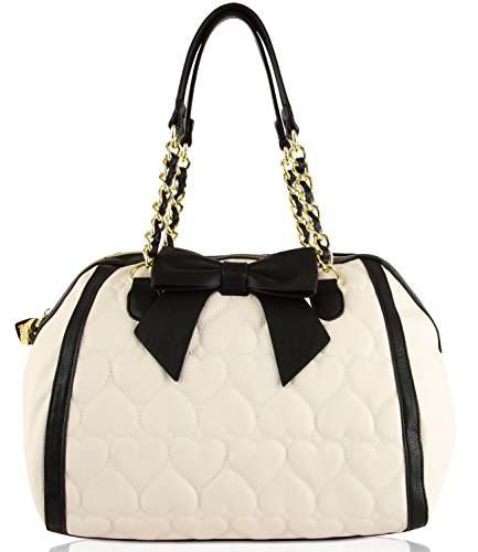 Betsey Johnson Be Mine Bone Black Quilted Heart Bow Tie Detail Faux Leather E/W Satchel Shoulder Bag