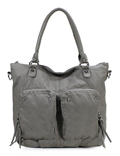 Scarleton Simple Soft Washed Double Pocket Shoulder Bag H1804