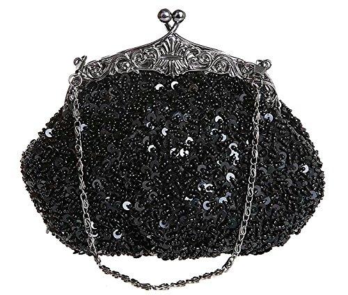 ILISHOP Women's Sequined Evening Clutch Party Wedding Handbag Purse (Black)