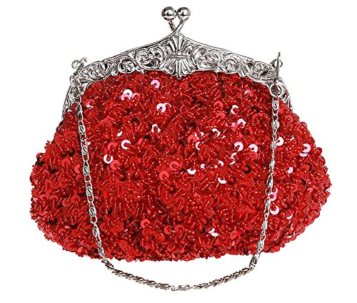 ILISHOP Women's Sequined Evening Clutch Party Wedding Handbag Purse (Red)