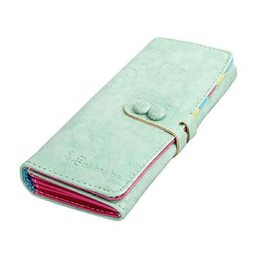 Small Women's Bi-fold Long Purse Button Clutch Wallet with Card Slotss (Green)