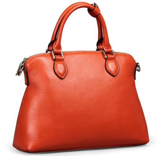 Ilishop Women's Orange Genuine Leather Tote Handbag