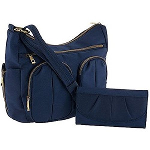 Travelon Anti-Theft, RFID Protected, Signature Twin Pocket Hobo, + wallet, Midnight, Navy