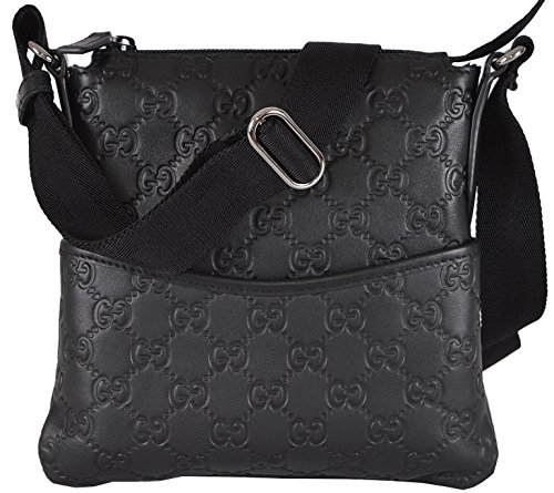 Gucci Mini Black Leather GG Guccissima Crossbody Day Bag