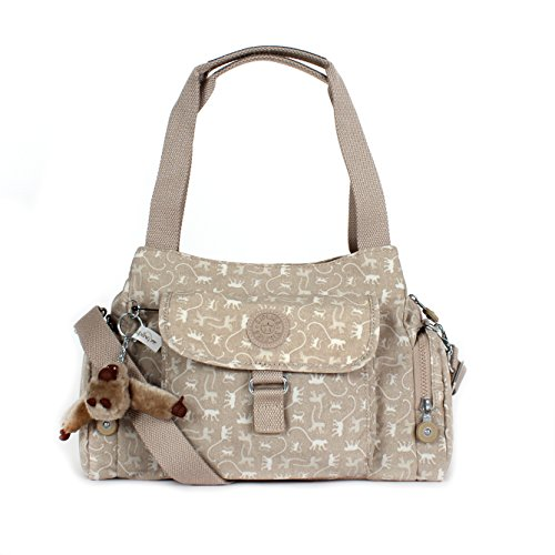Kipling Felix (Fairfax) Large Shoulder Bag Crossbody Monkey Mania Beige