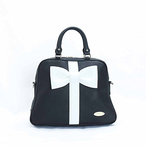 Dolly Women's Black and White Satchel Handbag S178SB16BLK