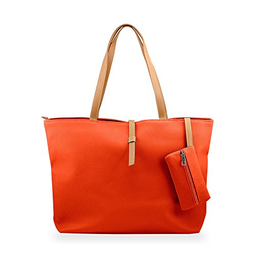 DIGIMATE Lady Womens PU Leather Messenger Handbag Shoulder Bag Totes Purse Hobo – orange