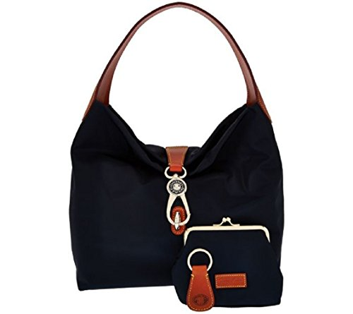 Dooney & Bourke Nylon Hobo with Logo Lock & Accessories (Navy)
