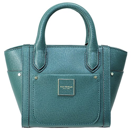 Isaac Mizrahi Womens Handbags Valerie Saffiano Leather Mini Top Handle Satchel Bag with Crossbody Strap Forest Green