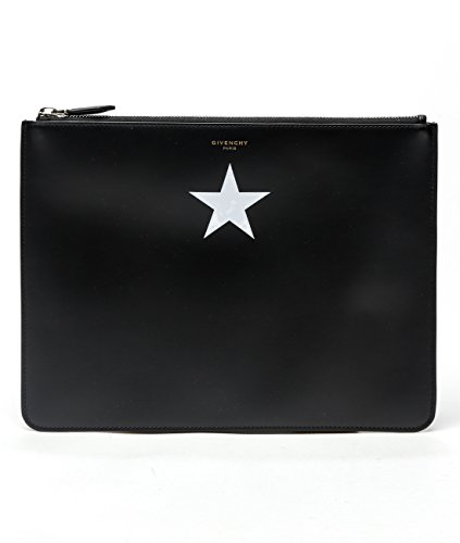 Wiberlux Givenchy Women's White Star Print Zip-Top Real Leather Clutch