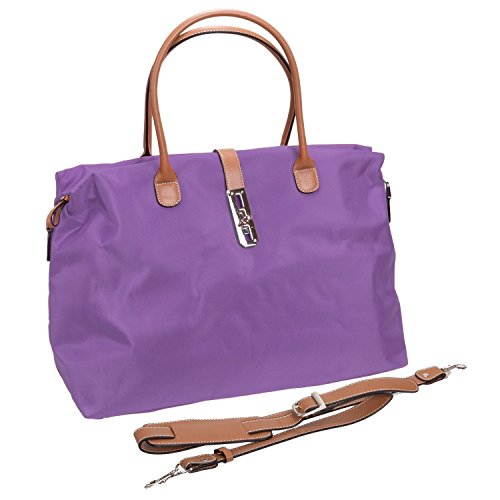 Tosca Women's Nylon Oversized Travel Tote Handbag (Dark Purple)