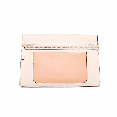 Isaac Mizrahi Womens Fashion Designer Handbags Janna Leather Clutch Evening Crossbody Bag Antique White