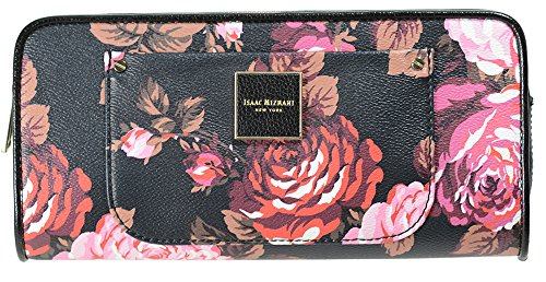 Isaac Mizrahi Womens Fashion Designer Handbags Valerie Saffiano Leather Clutch Wallet Rose Print