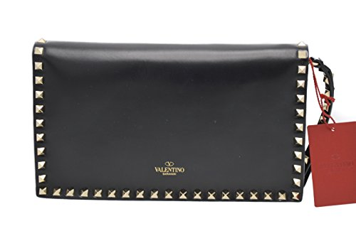 Valentino Rockstud Black Medium Flap Wristlet Clutch Bag