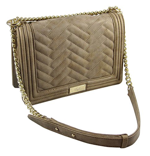 BCBG Paris Contemporary Quilted Soft Touch Handbag- Sand