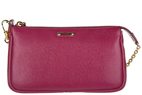 Fendi women's leather clutch handbag bag purse bordeaux