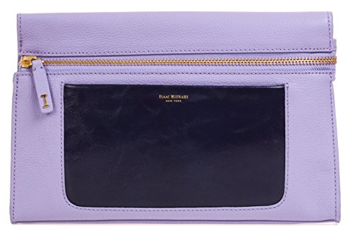 Isaac Mizrahi Womens Fashion Designer Handbags Janna Leather Clutch Evening Crossbody Bag Lilac Purple