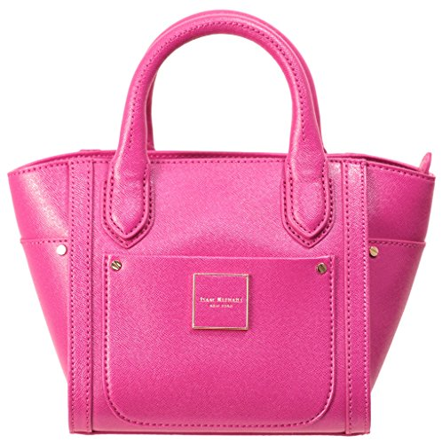 Isaac Mizrahi Womens Handbags Valerie Saffiano Leather Mini Top Handle Satchel Bag with Crossbody Strap Fuchsia Pink