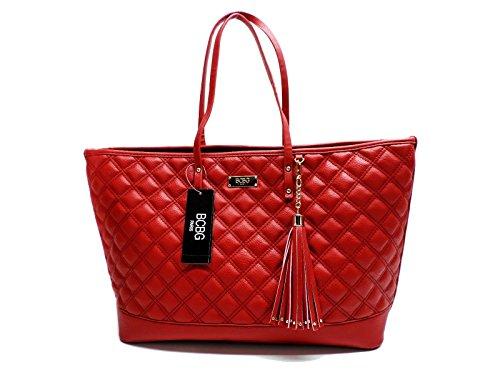 BCBG Red Quilted Tote Handbag Shoulder Bag