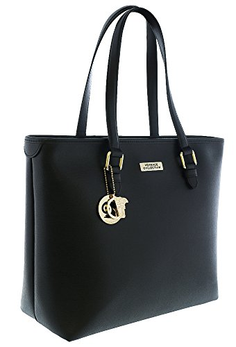 Versace Collections Leather Women Handbag tote LBF0375 LVSS Black