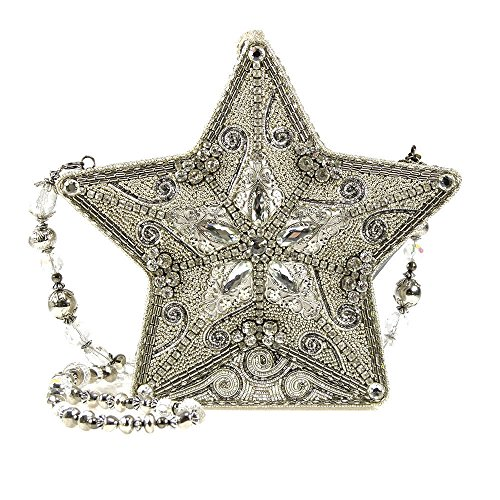 Mary Frances Holiday Superstar Silver Star Christmas Bead Jewel Winter Xmas Shoulder Bag