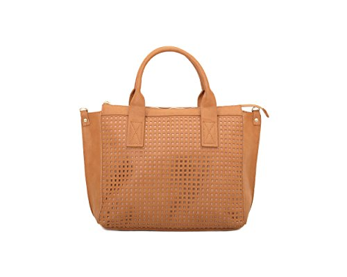 Olivia and Joy Womens Fashion Designer Handbags Percy Faux Leather Top Handle Perforated Panel Tote Shoulder Bag Saddle Brown